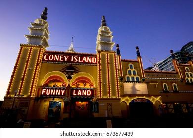 SYDNEY, AUSTRALIA, 26 APRIL 2017 - Sydney's Luna Park at night