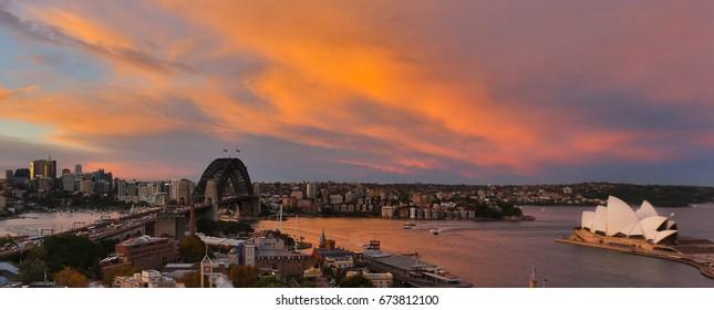 SYDNEY, AUSTRALIA, 26 APRIL 2017 - Sydney harbour bridge and opera house. Iconic and world famous landmarks of Australia