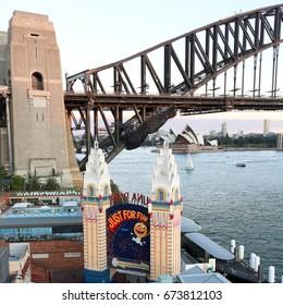 SYDNEY, AUSTRALIA, 26 APRIL 2017 - Sydney harbour bridge and opera house. at sunset, Iconic and world famous landmarks of Australia