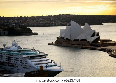 Sydney Australia 27 April 2017:  Dawn Princess docked in front of Sydney Opera House at sunrise