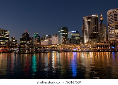 SYDNEY, AUSTRALIA - 27th may 2017: Darling Harbour before VIVID projections