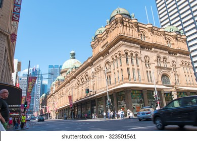 SYDNEY, AUSTRALIA - 3 October 2015 : The day before big changes, close on George Street for Tomorrow's Sydney Project. Light rail early work begins on George Street between King and Market streets.