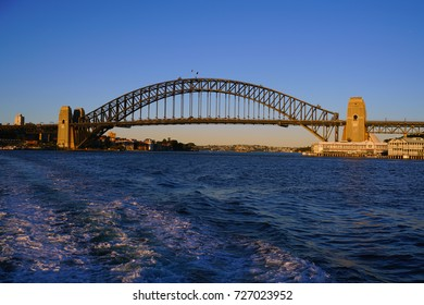 SYDNEY, AUSTRALIA -5 AUG 2017- View of the iconic steel Sydney Harbour Bridge  in New South Wales, Australia under a blue sky.