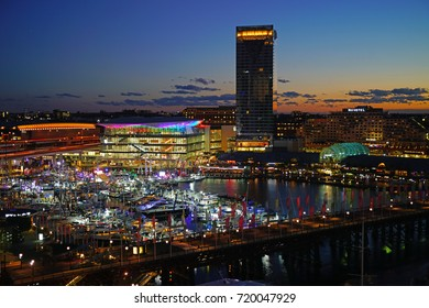 SYDNEY, AUSTRALIA -6 AUG 2017- Night view of Darling Harbour, a busy modern neighborhood in Sydney, New South Wales.