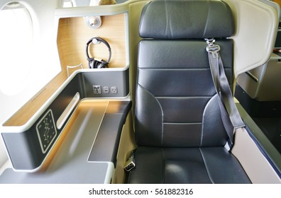 SYDNEY, AUSTRALIA -7 DEC 2016- A Business Class seat inside an Airbus A330 from Australian national flag carrier Qantas (QF).