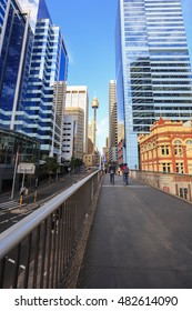 SYDNEY, AUSTRALIA : 9 SEPTEMBER 2016 - Sydney Tower through pyrmont bridge and Market Street, Sydney, New South Wales