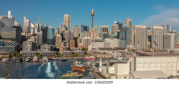 Sydney, Australia. Aerial view of Darling Harbour and city skyline from a beautiful park.