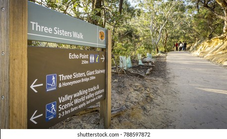 Sydney, Australia - Apr 18, 2017: Directory signage for the benefit of bush walkers or trekkers. Popular recreational walking path along the Three Sisters Walk, Katoomba, Blue Mountains National Park.