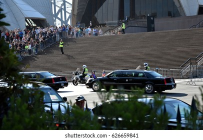 Sydney, Australia - Apr 23, 2017. The car of Mike Pence, the vice president of the United States when he arrived at the Sydney Opera House.