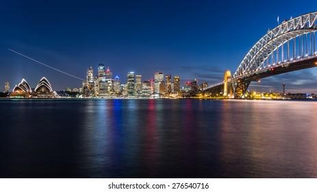 SYDNEY, AUSTRALIA April 02, 2014: Sydney's opera house and the CBD seen from Bradfield Park