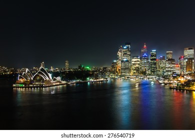 SYDNEY, AUSTRALIA April 02, 2014: Sydney's opera house and skyline seen from the harbour bridge at nighttime