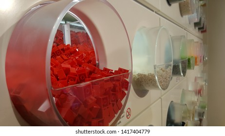 SYDNEY, AUSTRALIA - APRIL 13, 2019: Closeup of Pick & Build wall to choose the classic red color bricks and elements in the LEGO store in Westfield Bondi Junction in Sydney.