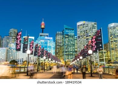 Sydney, Australia - April 16, 2014: Darling Harbour is a harbour adjacent to the city centre of Sydney, New South Wales, Australia