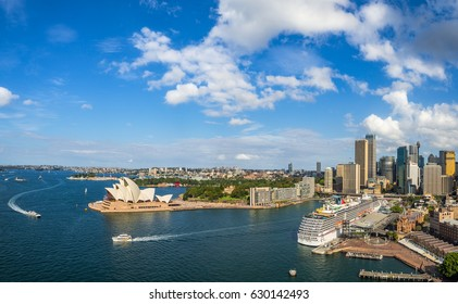 Sydney, Australia - April 16, 2017: Sydney Harbour Panorama - View from the south-eastern pylon containing the tourist lookout towards the CBD and the Opera House.