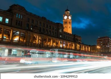 SYDNEY, AUSTRALIA - APRIL 17, 2018: Sydney central station building view at night.