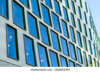 Sydney, Australia - April 18, 2019: Curved view of window pannel building facade of University of Technology Sydney (UTS) building 7.