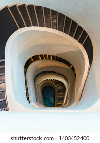Sydney, Australia - April 18, 2019: Spiral staircase view from the top of University of Technology Sydney (UTS) building 7.