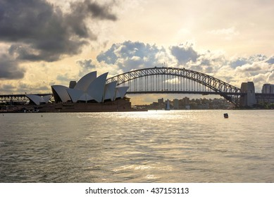 SYDNEY, AUSTRALIA - APRIL 19: View on Sydney Opera and harbour bridge at day time. April 2016