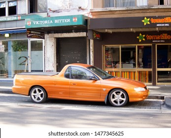 Sydney,  Australia- April 20, 2010: A Holden Ute car, a coupe utility built by Holden, the Australian subsidiary of General Motors. Parked on streets of Sydney.
