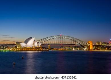 SYDNEY, AUSTRALIA - APRIL 20: View on Sydney opera and Harbour bridge at night, long exposure. April 2016