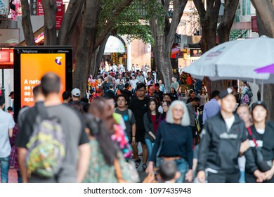 Sydney, Australia - April 22, 2018: Crowd of people in the china town area of Sydney.