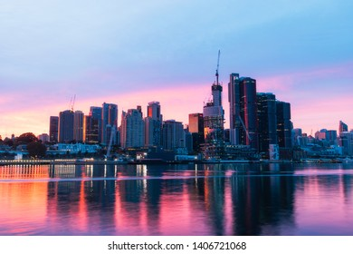 Sydney, Australia - April 22, 2019: Colorful dawn view of Barangaroo skyline.