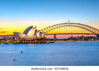 SYDNEY, AUSTRALIA - APRIL 22: View on Sydney Opera house and harbour bridge at sunset. April 2016