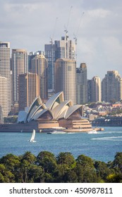 SYDNEY, AUSTRALIA - APRIL 24: Sydney skyline with Opera house, on of most recognizble landmarks. April 2016