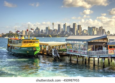 SYDNEY, AUSTRALIA - APRIL 24: Sydney skyline with old ferries, one of most recognizble city's landmarks. April 2016