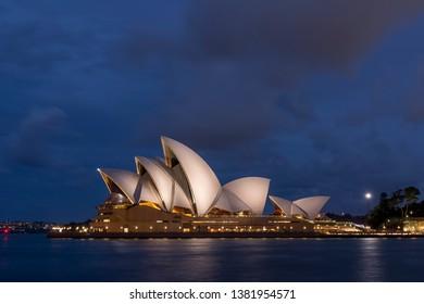 Sydney, Australia April 26 2019: The beautiful Sydney Opera House lit by the blue hour light, Australia