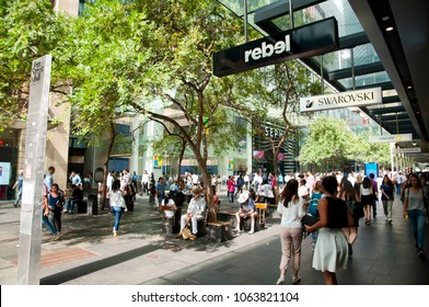 SYDNEY, AUSTRALIA - April 6, 2018: Iconic Pitt Street Mall is Australia's busiest and most cosmopolitan shopping area
