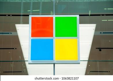 SYDNEY, AUSTRALIA - April 6, 2018: Microsoft software store located in iconic Pitt Street Mall