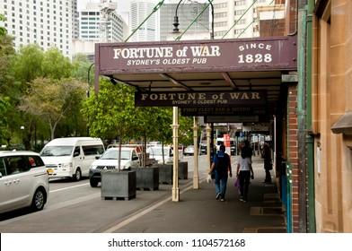 SYDNEY, AUSTRALIA - April 6, 2018: Fortune of War; Sydney's oldest pub