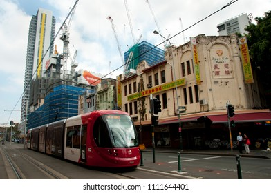 SYDNEY, AUSTRALIA - April 6, 2018: Colourful Chinatown is a mixture of asian culture, shopping and cuisine