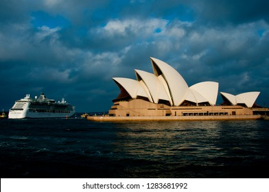 SYDNEY, AUSTRALIA - April 6, 2018: MS Radiance of the Seas cruise ship in front of iconic Opera House