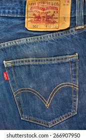 SYDNEY, AUSTRALIA - April 6,2015 : Close up of the LEVI'S red label on the back pocket of denim jeans. LEVI'S is a brand name of Levi Strauss and Co, founded in 1853.