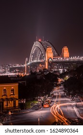 Sydney, Australia, April 7, 2020, Sydney Harbour Bridge at night