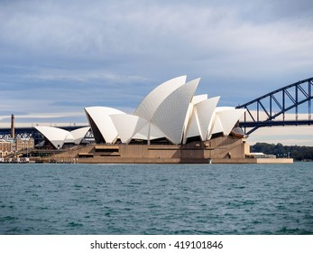 SYDNEY, AUSTRALIA - Aug. 5, 2015: Sydney Opera House viewed from Mrs Macquaire's Chair. It is a multi-venue performing arts centre also containing bars and outdoor restaurants.