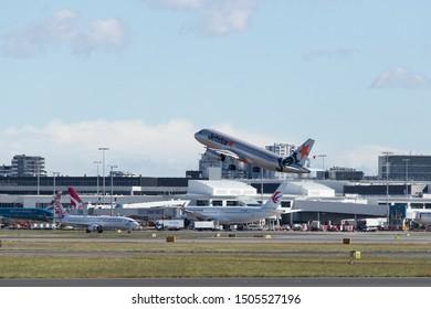 Sydney, Australia - August 10, 2019: Jetstar Airbus A320 taking off from Sydney International Airport runway. Registration VH-VFX