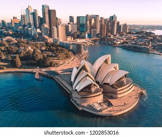 SYDNEY, AUSTRALIA - AUGUST 12 2018 - Aerial  view of Sydney Opera House and Sydney city