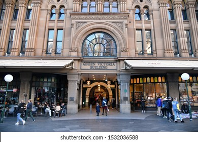 Sydney, Australia - August 13, 2019: People enter Queen Victoria Building in the city centre. The recently renovated QVB houses high end restaurants and shops.