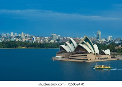 SYDNEY, AUSTRALIA - AUGUST 15, 2017: View of the Opera House from the Harbor Bridge in Sydney, Australia