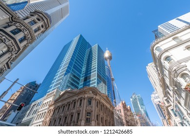 SYDNEY, AUSTRALIA - AUGUST 19, 2018: City skyscrapers on a beautiful sunny day. Sydney attracts 15 million tourists annually.