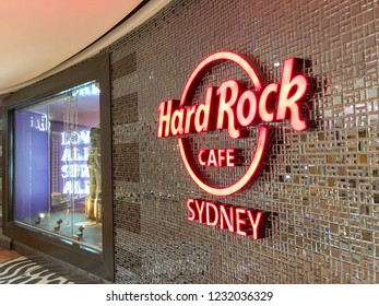 SYDNEY, AUSTRALIA - AUGUST 20, 2018: Hard Rock Cafe sign in Darling Harbour. This is a chain of theme restaurants founded in 1971.