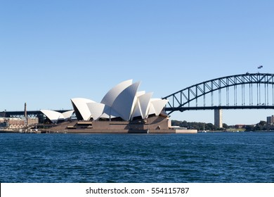 SYDNEY, AUSTRALIA, AUGUST 2016. Sydney Opera house and Harbor Bridge are the most iconic monuments in Sydney located in the Central Business District