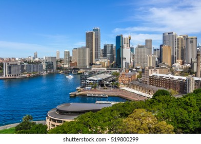 SYDNEY, AUSTRALIA - AUGUST 28, 2012: View of the Central Business District from the Harbor Bridge in Sydney, Australia