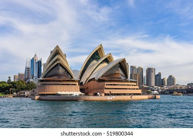 SYDNEY, AUSTRALIA - AUGUST 28, 2012: View of the Opera House and CBD from the ferry heading to Manly in Sydney, Australia
