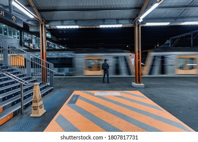 Sydney, Australia, August 28, 2020. A people standing waiting for a train  at Sydenham station