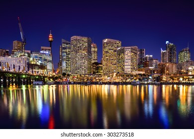 SYDNEY, AUSTRALIA - August 5, 2015 : Night scene of Darling Harbour, adjacent to the city center of Sydney and also a recreational place in Sydney central business district