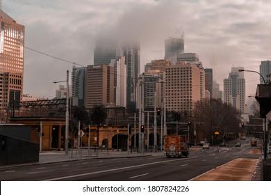Sydney, Australia, August 7, 2020. Misty morning in Central Station